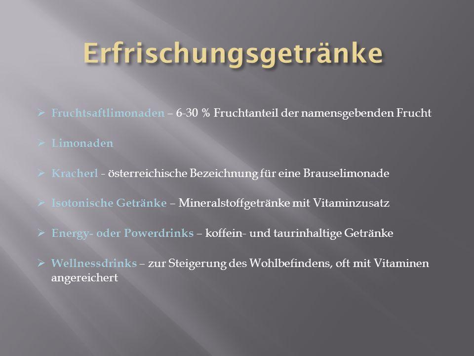  Fruchtsaftlimonaden – 6-30 % Fruchtanteil der namensgebenden Frucht  Limonaden  Kracherl - österreichische Bezeichnung für eine Brauselimonade  I