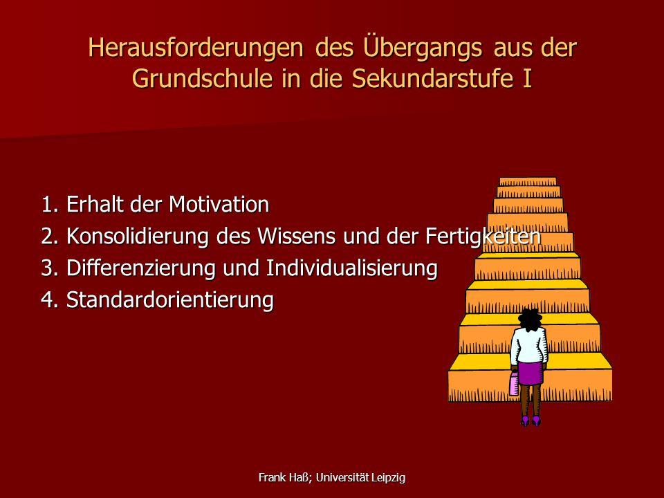 Frank Haß; Universität Leipzig Herausforderungen des Übergangs aus der Grundschule in die Sekundarstufe I 1. Erhalt der Motivation 2. Konsolidierung d