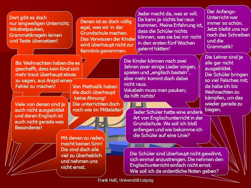 Frank Haß; Universität Leipzig Dort gibt es doch nur langweiligen Unterricht; Vokabelpauken, Grammatikregeln lernen und Texte übersetzen! Denen ist es