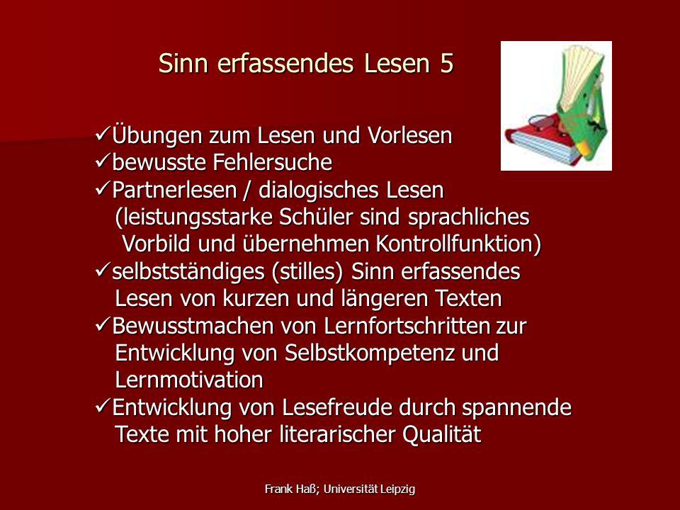 Frank Haß; Universität Leipzig Sinn erfassendes Lesen 5 Übungen zum Lesen und Vorlesen Übungen zum Lesen und Vorlesen bewusste Fehlersuche bewusste Fe