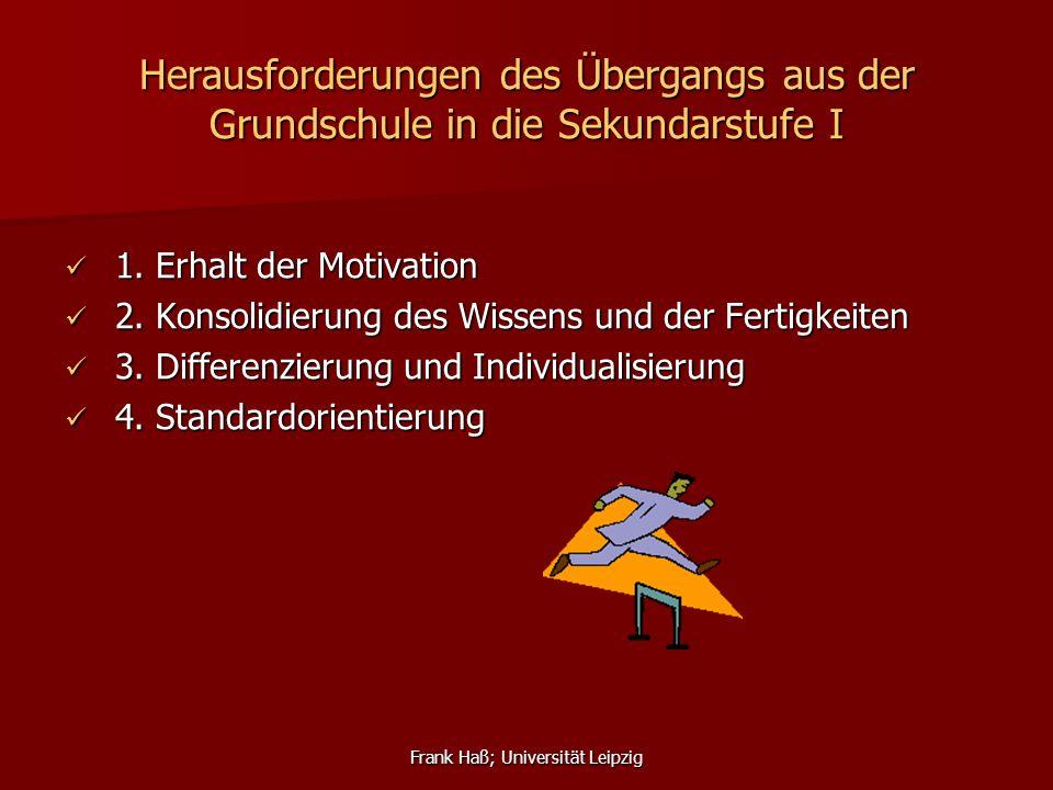 Frank Haß; Universität Leipzig Herausforderungen des Übergangs aus der Grundschule in die Sekundarstufe I 1. Erhalt der Motivation 1. Erhalt der Motiv