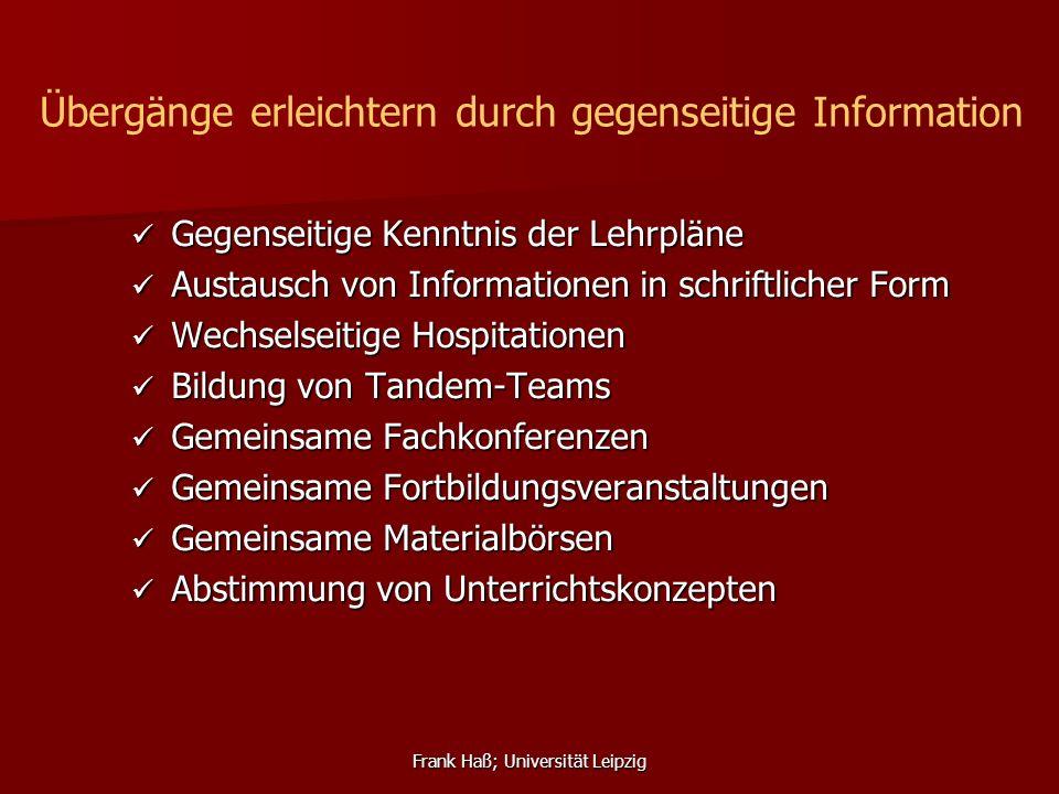 Frank Haß; Universität Leipzig Gegenseitige Kenntnis der Lehrpläne Gegenseitige Kenntnis der Lehrpläne Austausch von Informationen in schriftlicher Fo