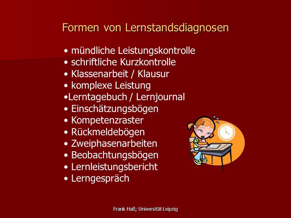Frank Haß; Universität Leipzig Formen von Lernstandsdiagnosen mündliche Leistungskontrolle schriftliche Kurzkontrolle Klassenarbeit / Klausur komplexe