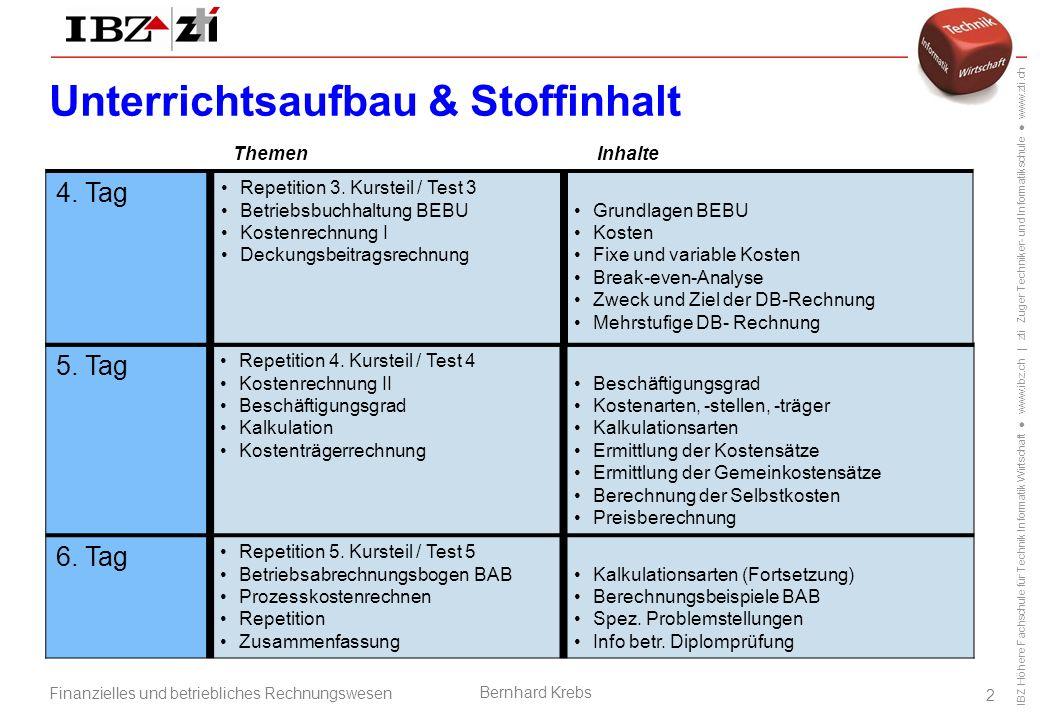 IBZ Höhere Fachschule für Technik Informatik Wirtschaft ● www.ibz.ch | zti Zuger Techniker- und Informatikschule ● www.zti.ch Finanzielles und betriebliches Rechnungswesen Bernhard Krebs 2 5.