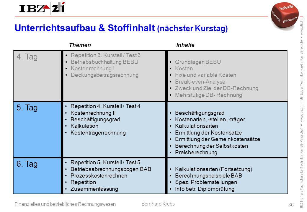 IBZ Höhere Fachschule für Technik Informatik Wirtschaft ● www.ibz.ch | zti Zuger Techniker- und Informatikschule ● www.zti.ch Finanzielles und betriebliches Rechnungswesen Bernhard Krebs 36 5.