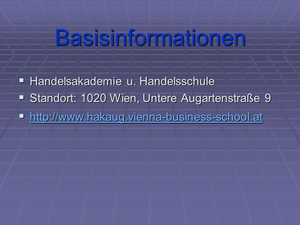 Basisinformationen HHHHandelsakademie u. Handelsschule SSSStandort: 1020 Wien, Untere Augartenstraße 9 hhhh tttt tttt pppp :::: //// ////