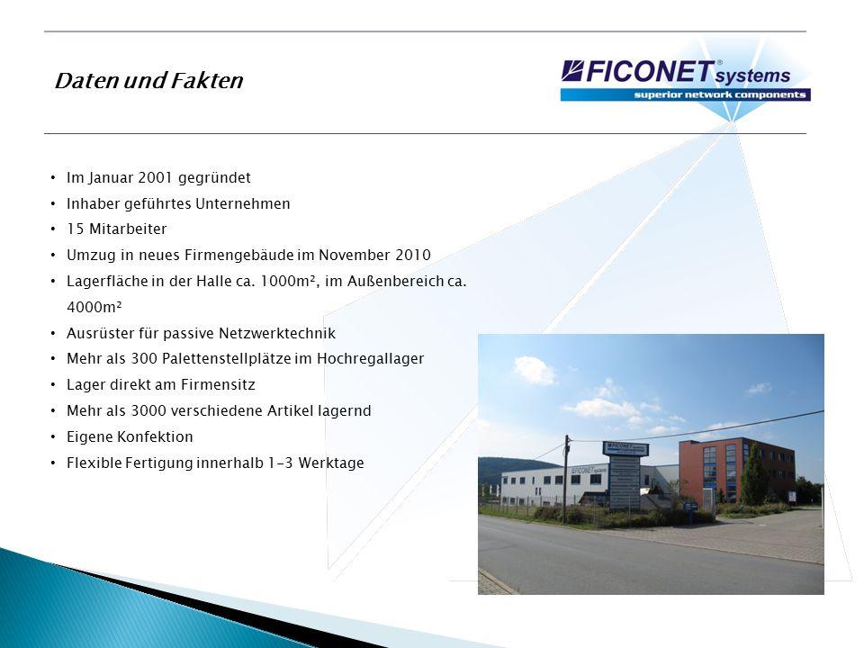 Daten und Fakten Im Januar 2001 gegründet Inhaber geführtes Unternehmen 15 Mitarbeiter Umzug in neues Firmengebäude im November 2010 Lagerfläche in der Halle ca.