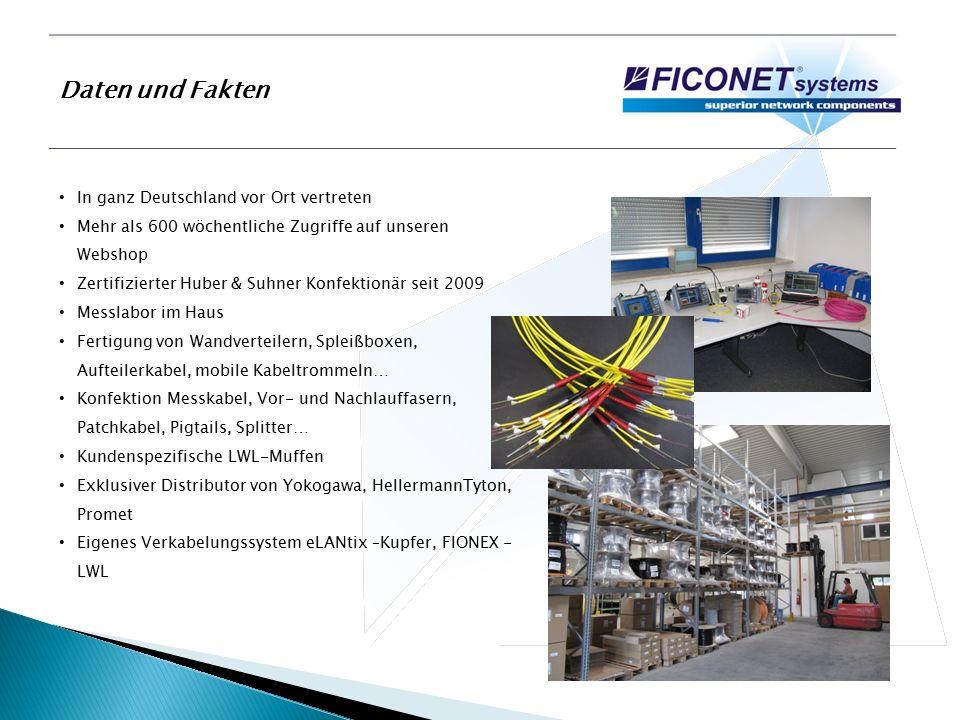 Produktprogramm LWL Innen- und Außenkabel FIONEX-Konfektionierte LWL-Kabel, auch Sonderlängen FIONEX-Patchkabel, Pigtails FIONEX-19 Spleißboxen und Wandverteiler, auch Sonderbestückungen Stecker und Kupplungen Glasfasermuffen FIONEX-19 Daten- und Serverschränke bis 45HE Werkzeuge und Zubehör Steckerdirektkonfektion Reinigungsprodukte Aktive Komponenten – optische Transceiver Spleiß- und Meßtechnik Mietservice eLANtix Cu-Datenkabel aller Kategorien und Komponenten RJ45 Patchkabel (UTP, FTP, S/FTP, S/STP) RJ45 Patchpanel und Anschlussdosen LSA Plus Optische Transceiver