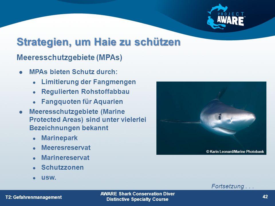 MPAs bieten Schutz durch: Limitierung der Fangmengen Regulierten Rohstoffabbau Fangquoten für Aquarien Meeresschutzgebiete (Marine Protected Areas) sind unter vielerlei Bezeichnungen bekannt Marinepark Meeresreservat Marinereservat Schutzzonen usw.