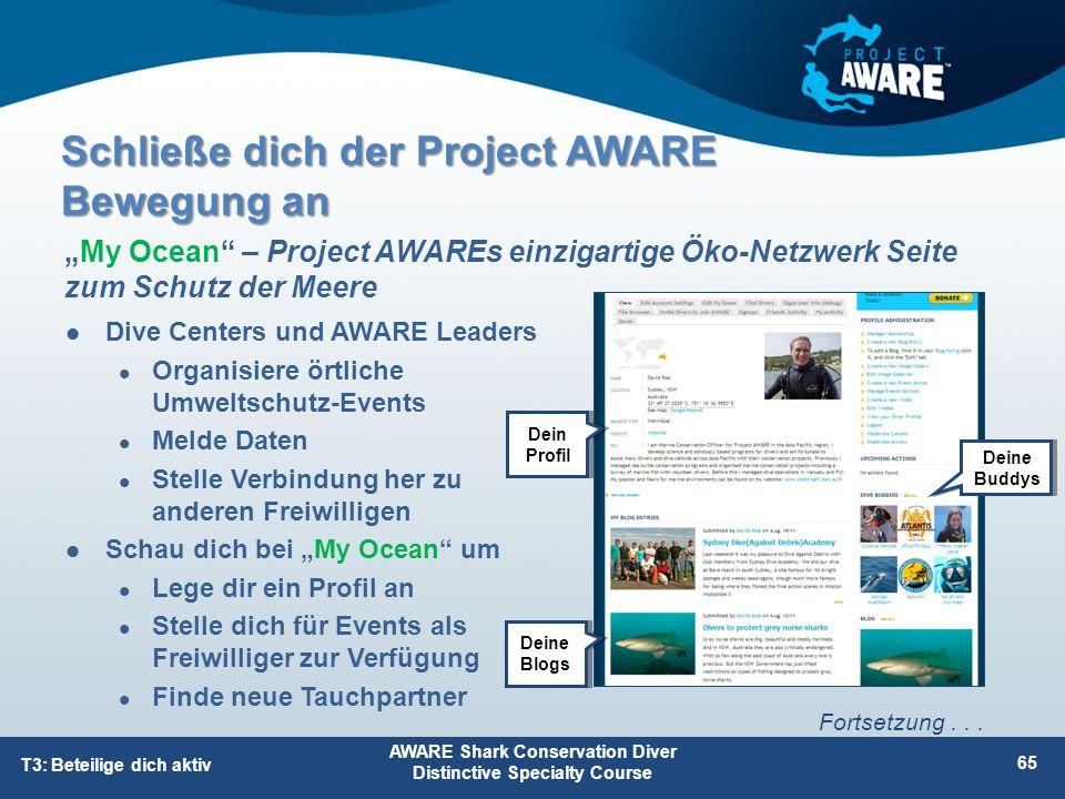 """Dive Centers und AWARE Leaders Organisiere örtliche Umweltschutz-Events Melde Daten Stelle Verbindung her zu anderen Freiwilligen Schau dich bei """"My O"""