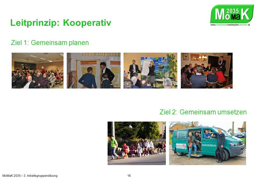 Leitprinzip: Kooperativ Ziel 1: Gemeinsam planen Ziel 2: Gemeinsam umsetzen MoMaK 2035 – 3.