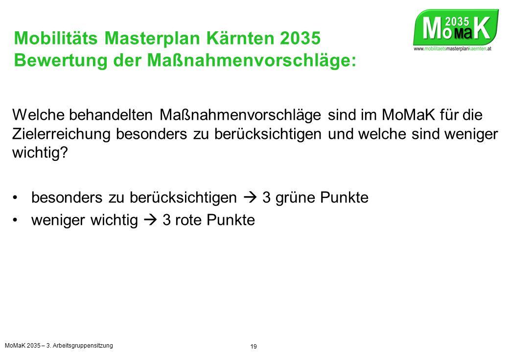 Mobilitäts Masterplan Kärnten 2035 Weitere Vorgangsweise 20 MoMaK 2035 – 3.