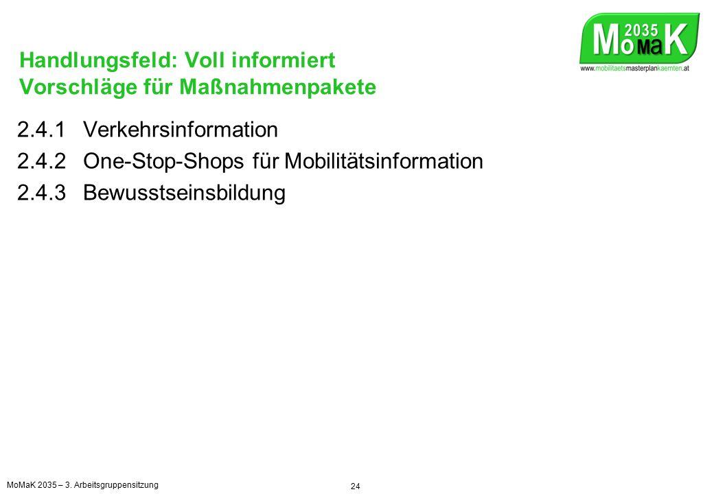 Handlungsfeld: Leistbar mobil Vorschläge für Maßnahmenpakete 2.5.1Öffentlicher Verkehr und Aktivverkehr fördern 2.5.2Mit dem Tourismus zusammenarbeiten 2.5.3Lkw-Maut, Kostenwahrheit im Güterverkehr, Alpentransitbörse 2.5.4Kilometerabhängige/faire PKW-Maut 25 MoMaK 2035 – 3.