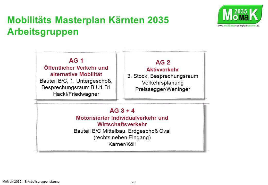 Mobilitäts Masterplan Kärnten 2035 Arbeitsgruppen 28 AG 1 Öffentlicher Verkehr und alternative Mobilität Bauteil B/C, 1.