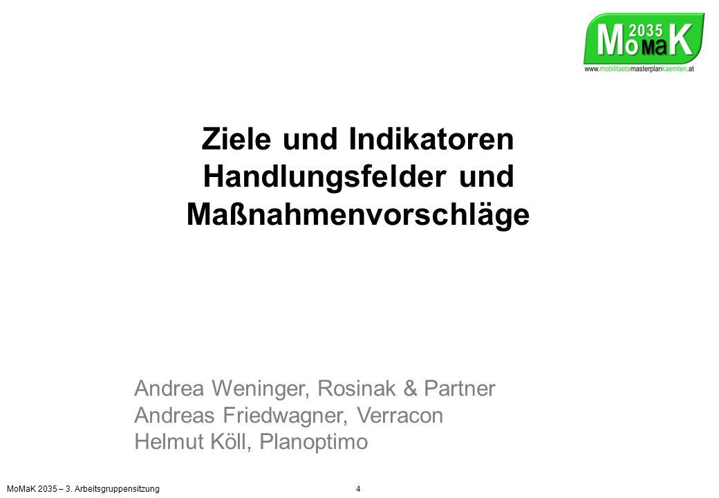 Ziele und Indikatoren Handlungsfelder und Maßnahmenvorschläge Andrea Weninger, Rosinak & Partner Andreas Friedwagner, Verracon Helmut Köll, Planoptimo MoMaK 2035 – 3.
