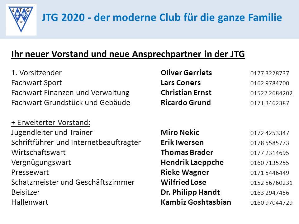 JTG 2020 - der moderne Club für die ganze Familie Ihr neuer Vorstand und neue Ansprechpartner in der JTG 1.