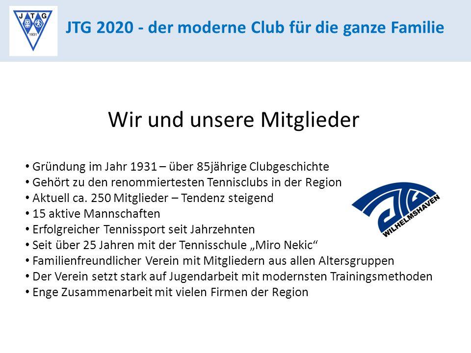 JTG 2020 - der moderne Club für die ganze Familie Wir und unsere Mitglieder Gründung im Jahr 1931 – über 85jährige Clubgeschichte Gehört zu den renommiertesten Tennisclubs in der Region Aktuell ca.