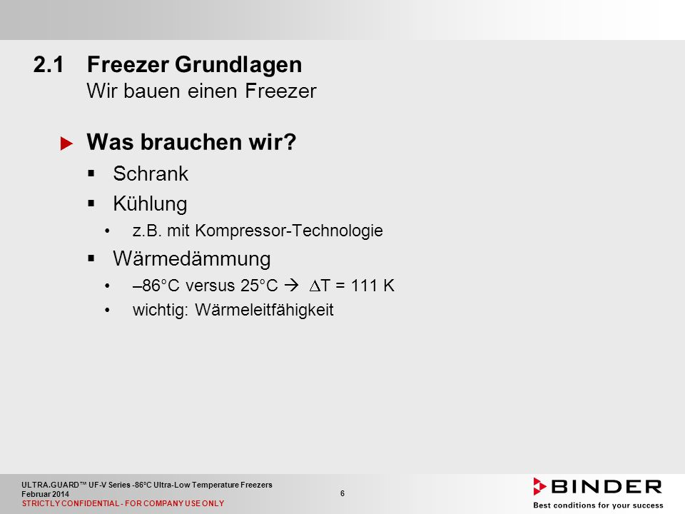 ULTRA.GUARD™ UF-V Series -86°C Ultra-Low Temperature Freezers Februar 2014 STRICTLY CONFIDENTIAL - FOR COMPANY USE ONLY 6 2.1Freezer Grundlagen Wir bauen einen Freezer  Was brauchen wir.