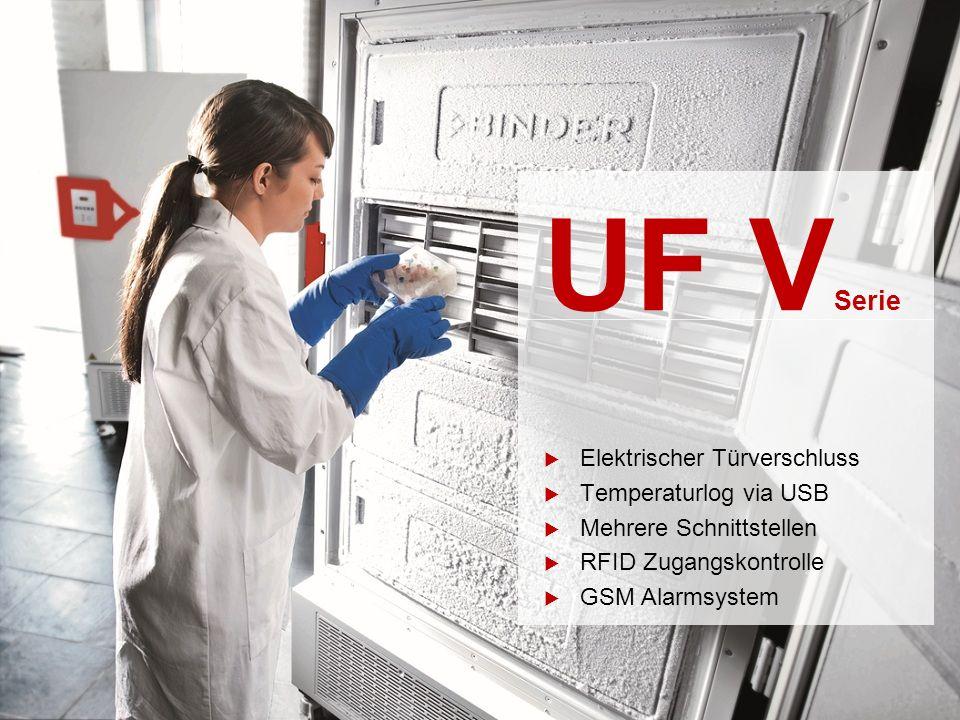 UF V Serie  Elektrischer Türverschluss  Temperaturlog via USB  Mehrere Schnittstellen  RFID Zugangskontrolle  GSM Alarmsystem