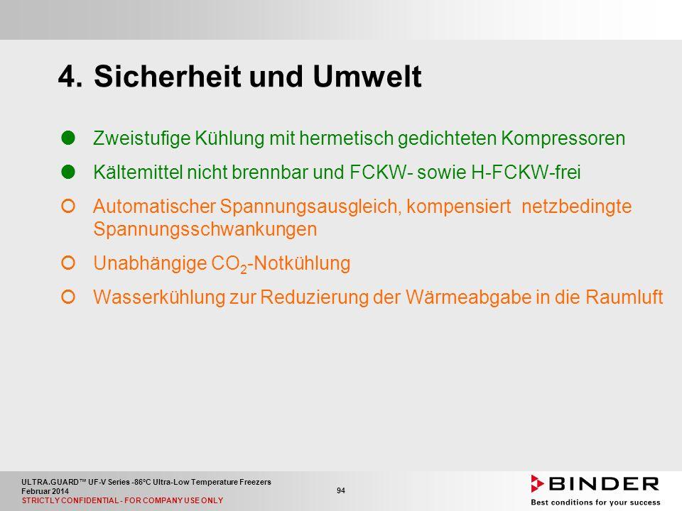ULTRA.GUARD™ UF-V Series -86°C Ultra-Low Temperature Freezers Februar 2014 STRICTLY CONFIDENTIAL - FOR COMPANY USE ONLY 94 4.Sicherheit und Umwelt  Zweistufige Kühlung mit hermetisch gedichteten Kompressoren  Kältemittel nicht brennbar und FCKW- sowie H-FCKW-frei  Automatischer Spannungsausgleich, kompensiert netzbedingte Spannungsschwankungen  Unabhängige CO 2 -Notkühlung  Wasserkühlung zur Reduzierung der Wärmeabgabe in die Raumluft