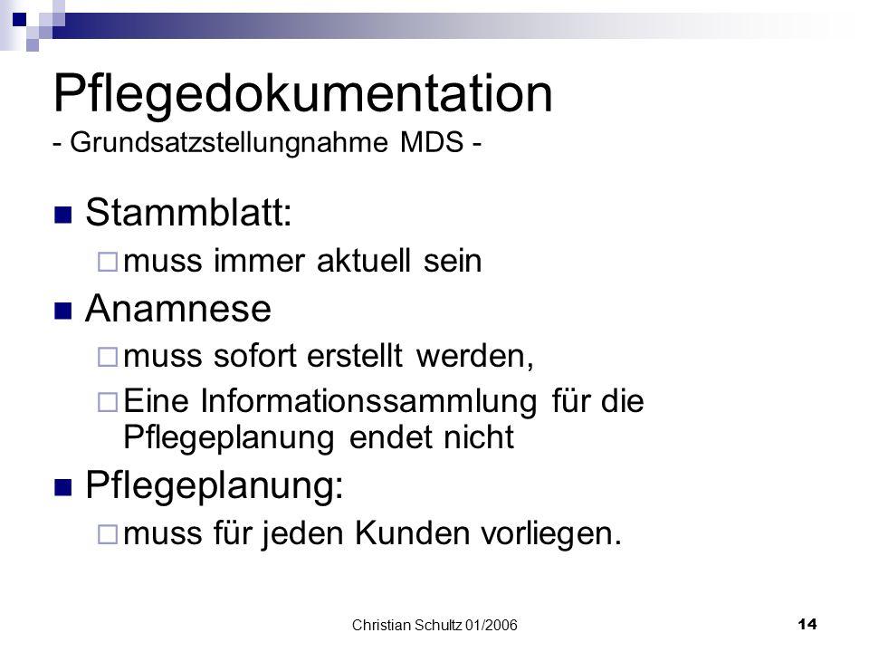 Christian Schultz 01/200613 Fragen aus dem Prüfkatalog - ausgewählte Einzelfragen /stationär- Hauswirtschaft Visiten der verantwortlichen Fachkraft zu
