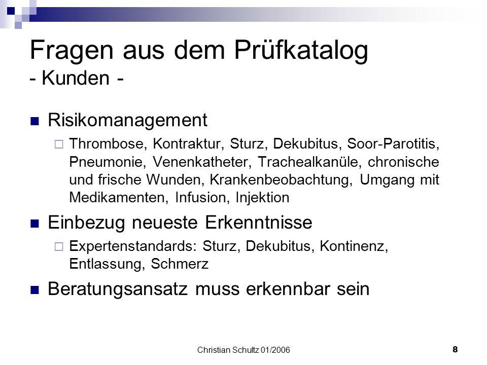 Christian Schultz 01/20067 Aus dem Prüfkatalog - vorzuhaltende Unterlagen 2. Teil- Stellenbeschreibungen Nachweise über Pflegevisiten Nachweise über F