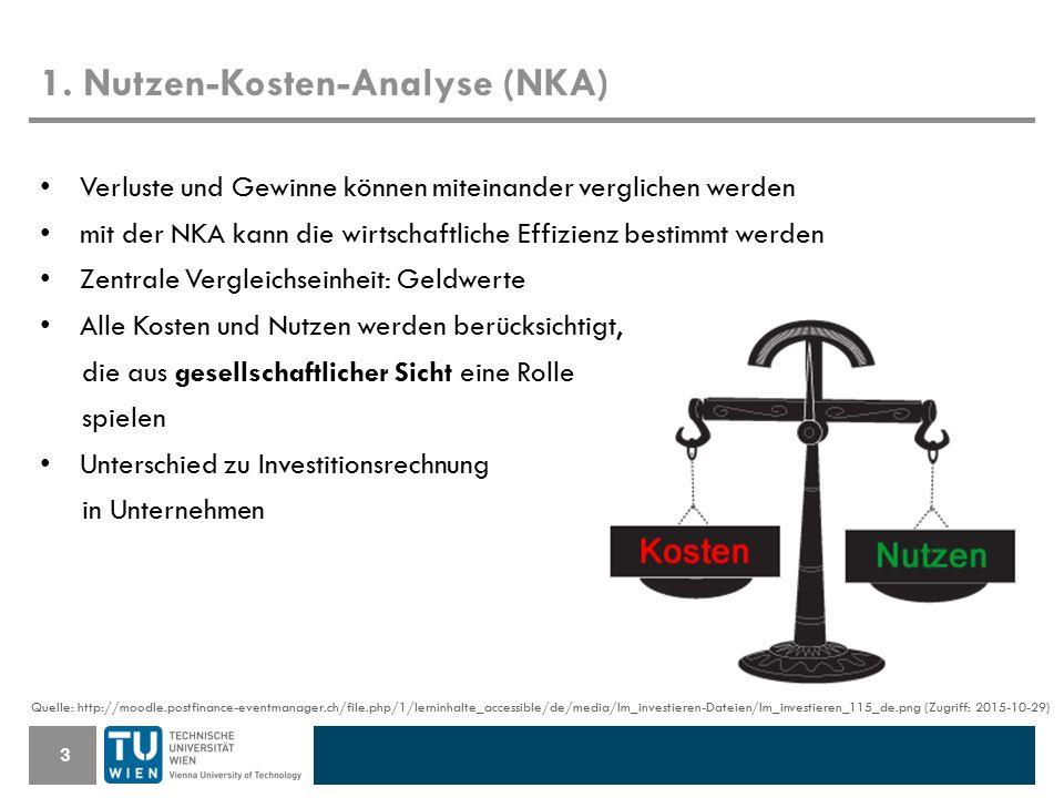 1. Nutzen-Kosten-Analyse (NKA) 3 Verluste und Gewinne können miteinander verglichen werden mit der NKA kann die wirtschaftliche Effizienz bestimmt wer
