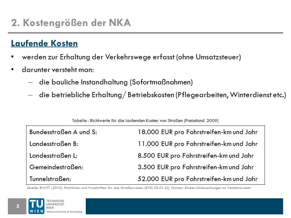 2. Kostengrößen der NKA 5 Laufende Kosten werden zur Erhaltung der Verkehrswege erfasst (ohne Umsatzsteuer) darunter versteht man:  die bauliche Inst