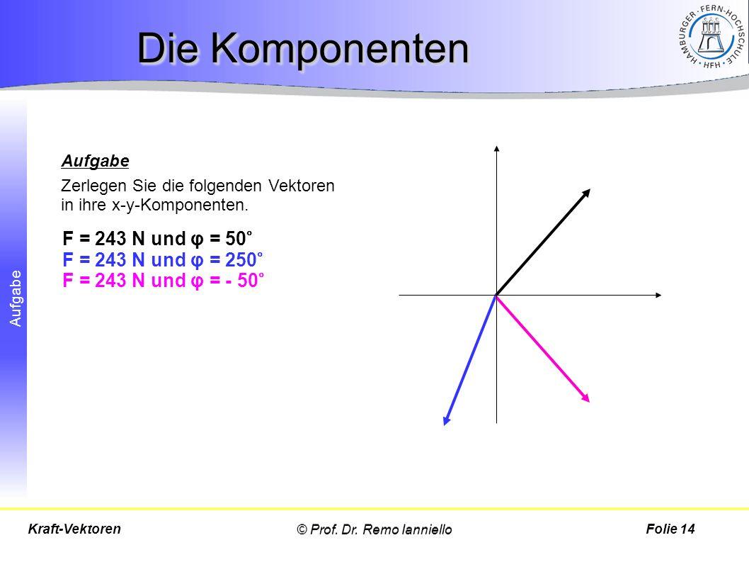Aufgabe Die Komponenten © Prof. Dr. Remo IannielloFolie 14Kraft-Vektoren Aufgabe Zerlegen Sie die folgenden Vektoren in ihre x-y-Komponenten. F = 243