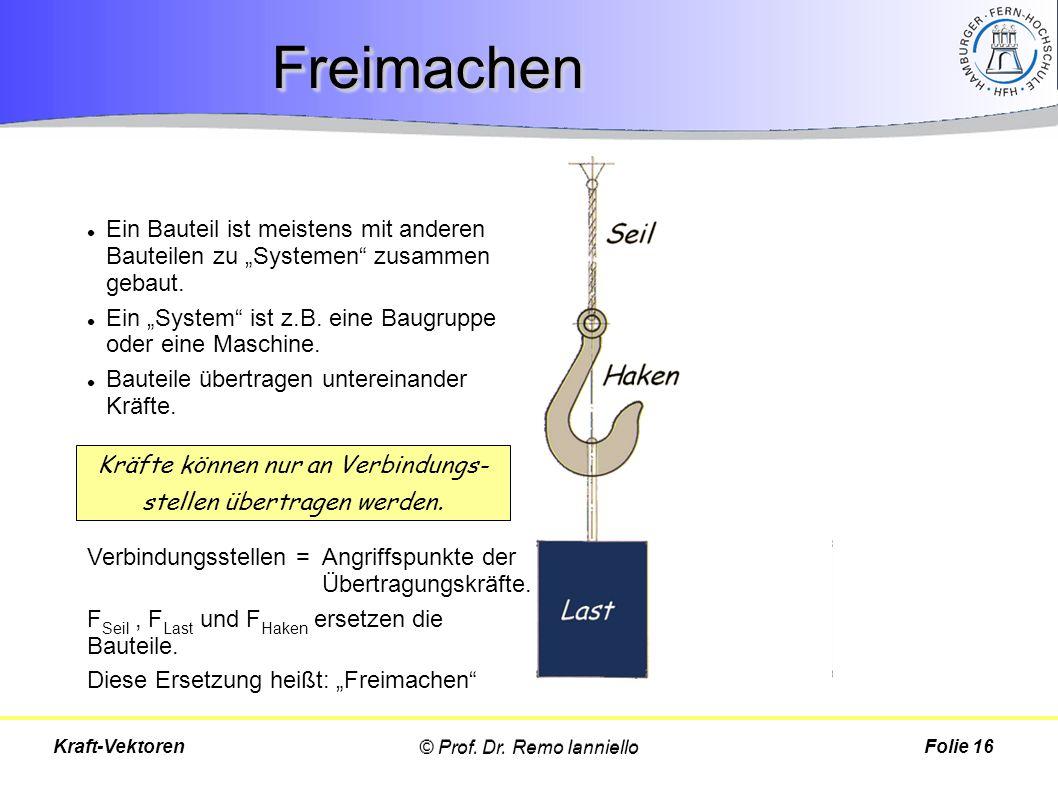 """FreimachenFreimachen Folie 16Kraft-Vektoren Ein Bauteil ist meistens mit anderen Bauteilen zu """"Systemen"""" zusammen gebaut. Ein """"System"""" ist z.B. eine B"""