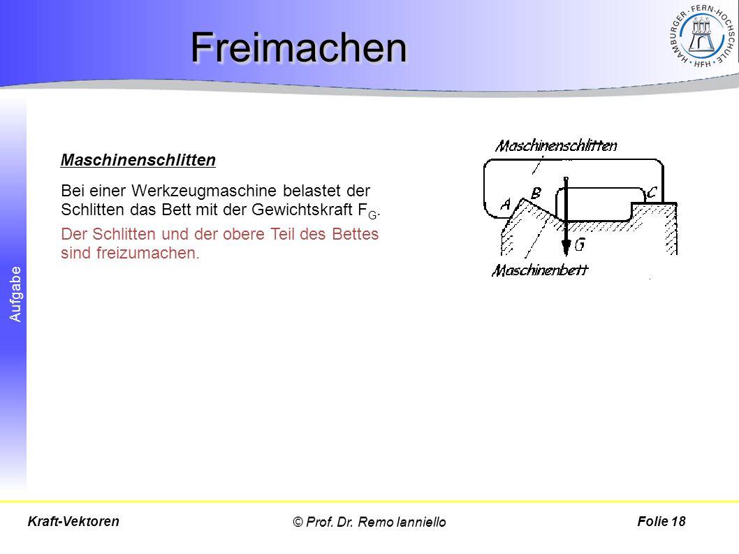 Aufgabe FreimachenFreimachen © Prof. Dr. Remo IannielloFolie 18Kraft-Vektoren Bei einer Werkzeugmaschine belastet der Schlitten das Bett mit der Gewic