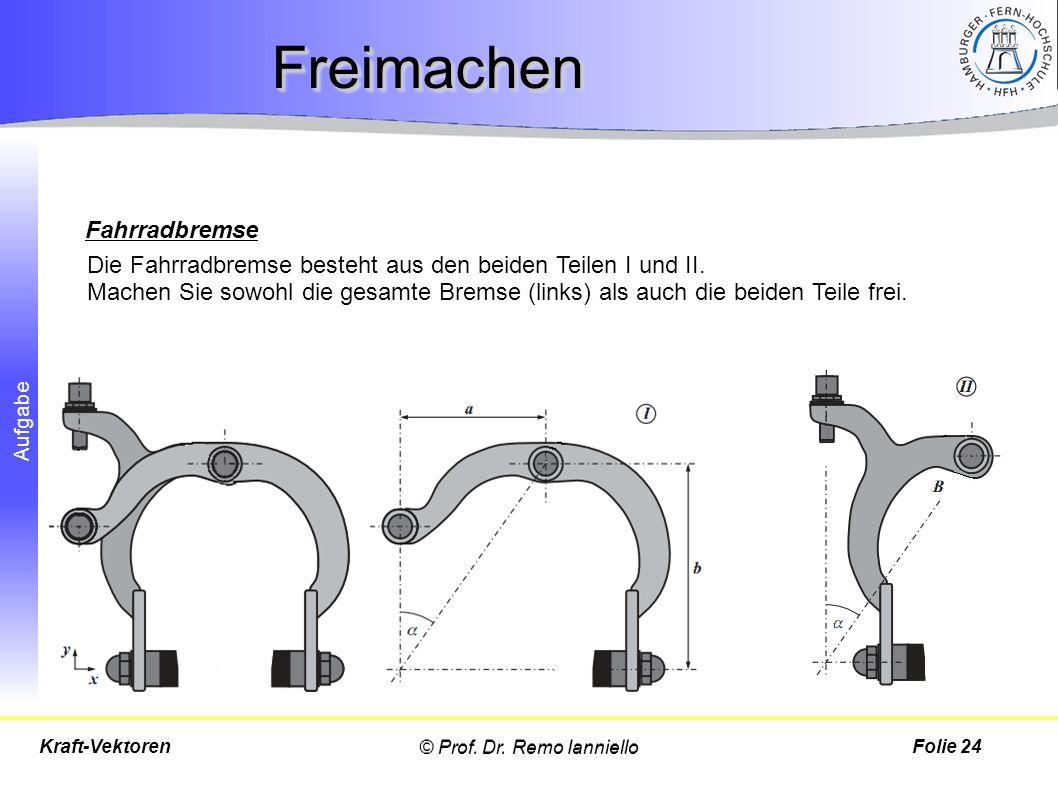 Aufgabe FreimachenFreimachen © Prof. Dr. Remo IannielloFolie 24Kraft-Vektoren Die Fahrradbremse besteht aus den beiden Teilen I und II. Machen Sie sow