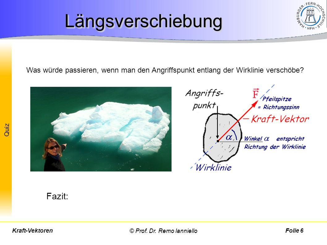 Quiz LängsverschiebungLängsverschiebung © Prof. Dr. Remo IannielloFolie 6Kraft-Vektoren Was würde passieren, wenn man den Angriffspunkt entlang der Wi