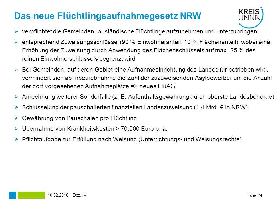 Das neue Flüchtlingsaufnahmegesetz NRW  verpflichtet die Gemeinden, ausländische Flüchtlinge aufzunehmen und unterzubringen  entsprechend Zuweisungsschlüssel (90 % Einwohneranteil, 10 % Flächenanteil), wobei eine Erhöhung der Zuweisung durch Anwendung des Flächenschlüssels auf max.