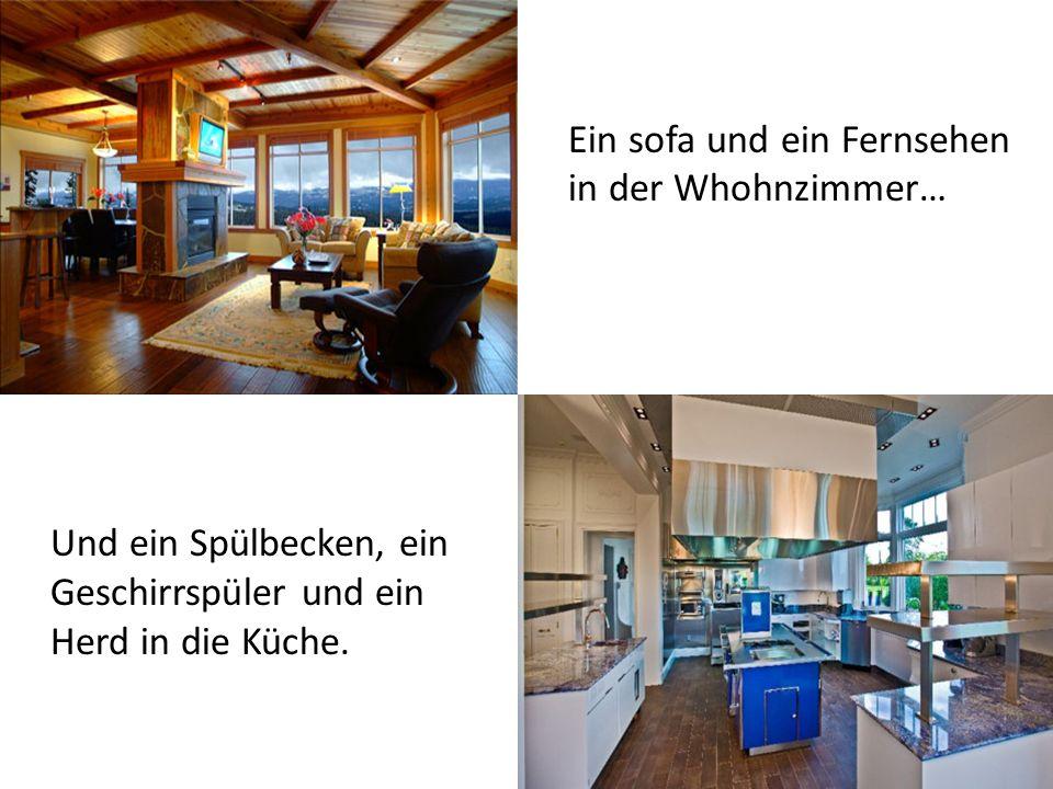 Und ein Spülbecken, ein Geschirrspüler und ein Herd in die Küche.