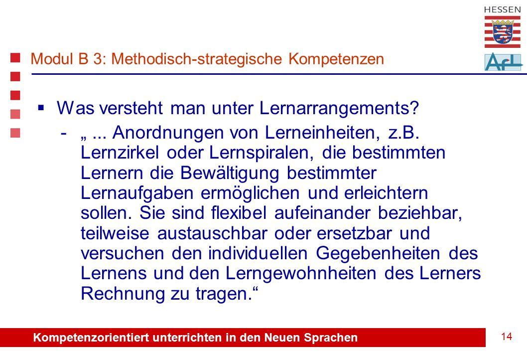 Kompetenzorientiert unterrichten in den Neuen Sprachen 14  Was versteht man unter Lernarrangements.