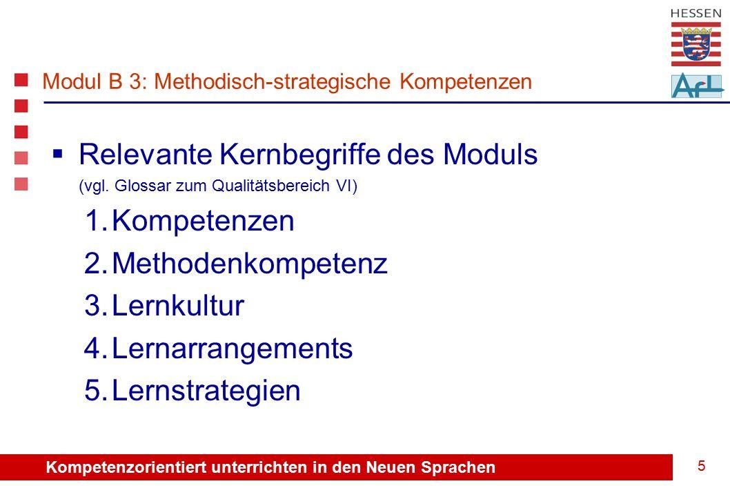 Kompetenzorientiert unterrichten in den Neuen Sprachen 5  Relevante Kernbegriffe des Moduls (vgl.