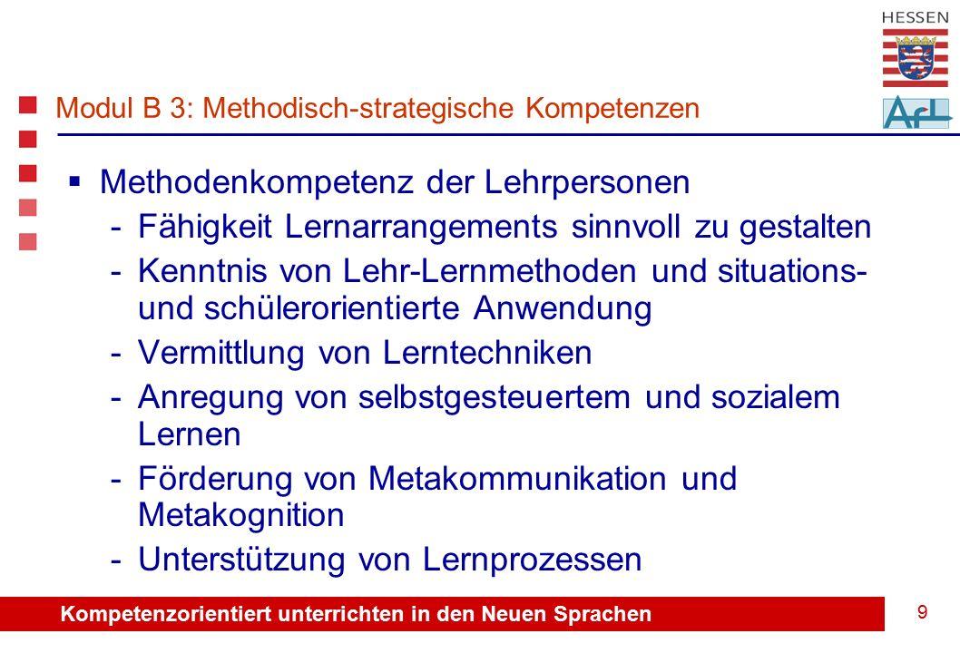 Kompetenzorientiert unterrichten in den Neuen Sprachen 9 Modul B 3: Methodisch-strategische Kompetenzen  Methodenkompetenz der Lehrpersonen -Fähigkeit Lernarrangements sinnvoll zu gestalten -Kenntnis von Lehr-Lernmethoden und situations- und schülerorientierte Anwendung -Vermittlung von Lerntechniken -Anregung von selbstgesteuertem und sozialem Lernen -Förderung von Metakommunikation und Metakognition -Unterstützung von Lernprozessen