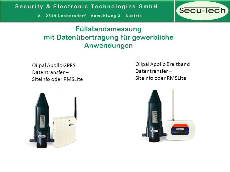 Apollo Ultrasonic mit GSM oder Breitband Modem -Messbereich: 0,2 bis 3 Meter -Funkdaten:433 MHz – bis 150 m -Genauigkeit: +/- 1 cm -Temperaturbereich: -10°C - + 50°C -Messintervalle: alle 20 Sekunden -Berichtsintervalle:Einmal pro Tag oder während einer unerwarteten Entnahme -Batterielebenszeit:ca.
