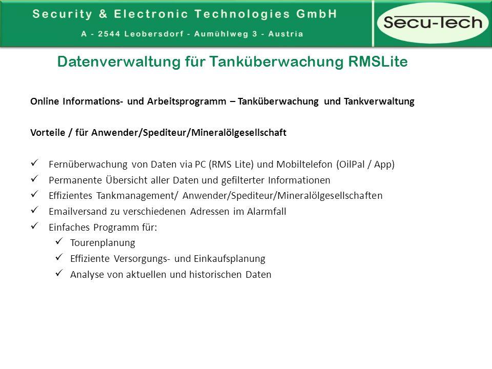 Datenverwaltung für Tanküberwachung SiteInfo