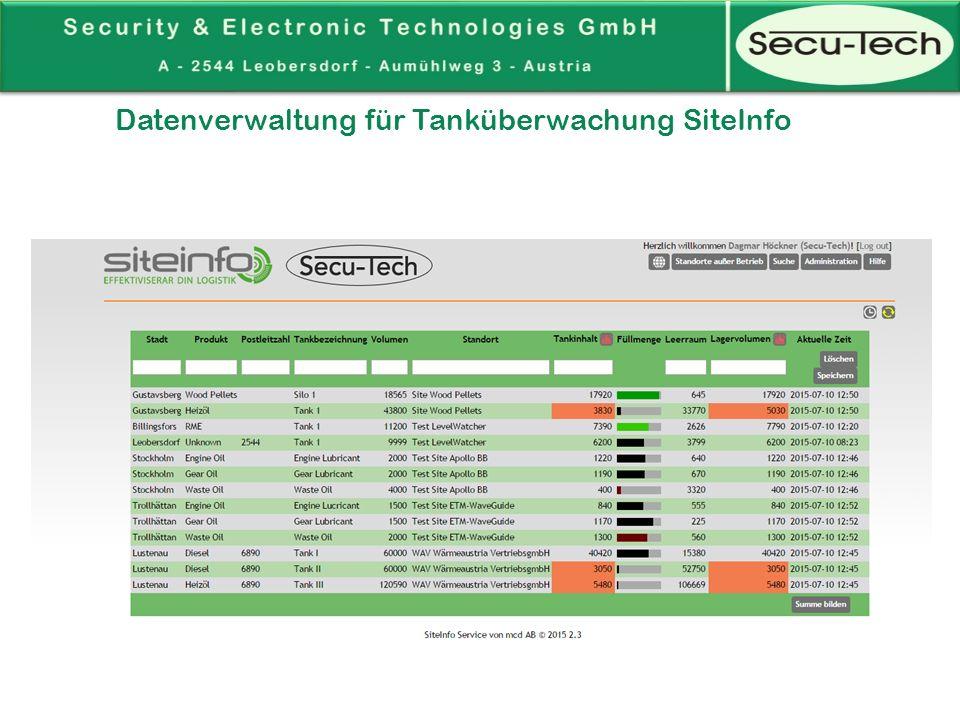 Datenverwaltung für Tanküberwachung