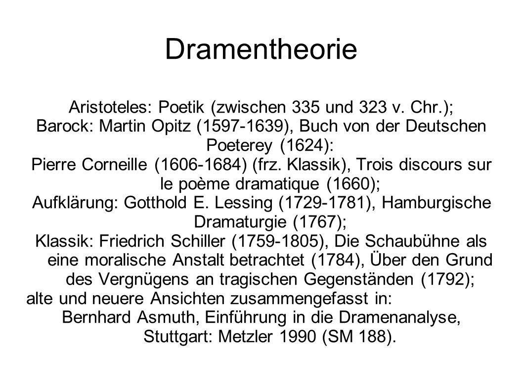 Dramentheorie Aristoteles: Poetik (zwischen 335 und 323 v. Chr.); Barock: Martin Opitz (1597-1639), Buch von der Deutschen Poeterey (1624): Pierre Cor