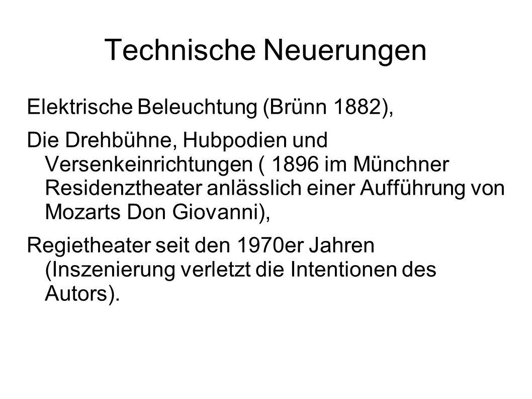 Technische Neuerungen Elektrische Beleuchtung (Brünn 1882), Die Drehbühne, Hubpodien und Versenkeinrichtungen ( 1896 im Münchner Residenztheater anlässlich einer Aufführung von Mozarts Don Giovanni), Regietheater seit den 1970er Jahren (Inszenierung verletzt die Intentionen des Autors).