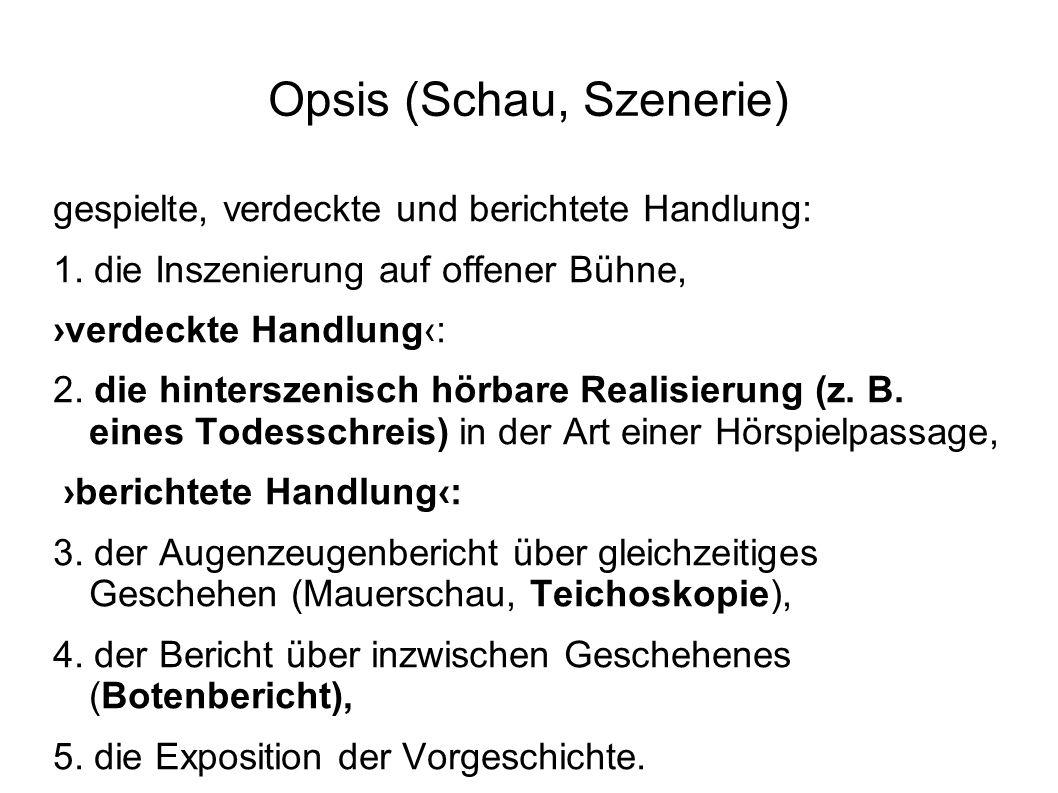 Opsis (Schau, Szenerie) gespielte, verdeckte und berichtete Handlung: 1. die Inszenierung auf offener Bühne, ›verdeckte Handlung‹: 2. die hinterszenis