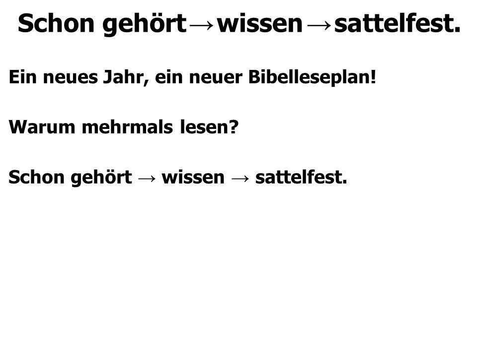 Schon gehört → wissen → sattelfest. Ein neues Jahr, ein neuer Bibelleseplan.