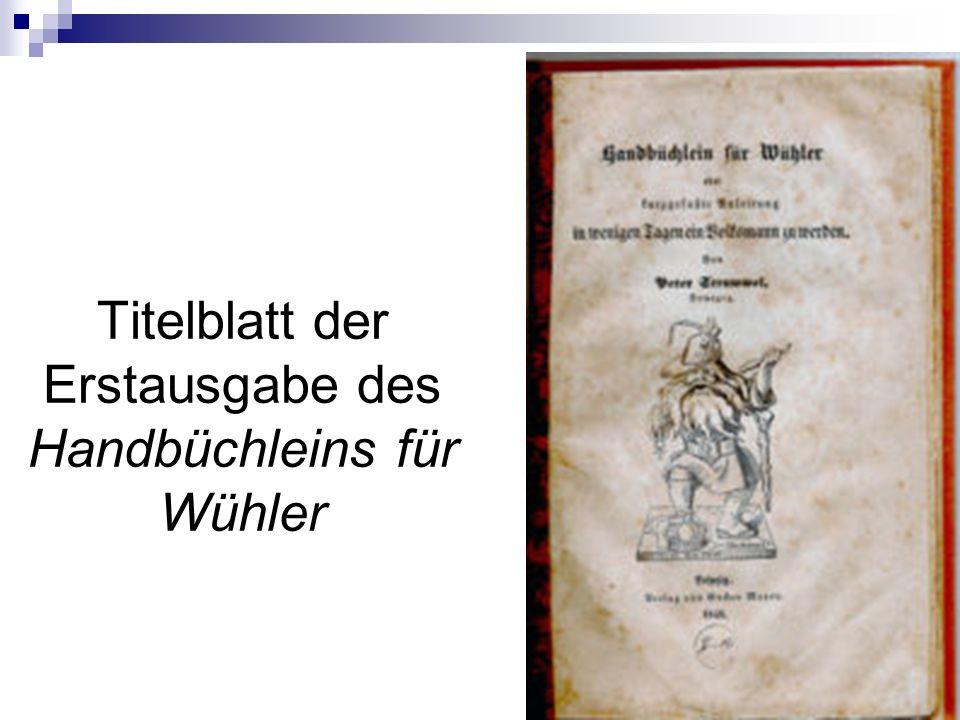 Titelblatt der Erstausgabe des Handbüchleins für Wühler