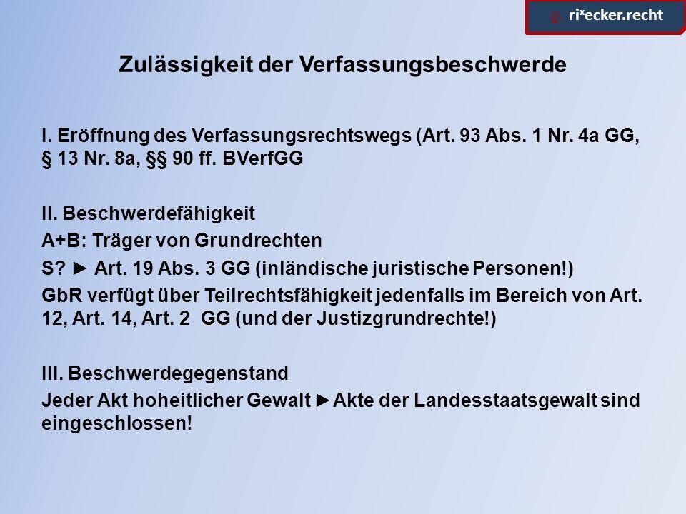 ϱ. ri x ecker.recht Zulässigkeit der Verfassungsbeschwerde I. Eröffnung des Verfassungsrechtswegs (Art. 93 Abs. 1 Nr. 4a GG, § 13 Nr. 8a, §§ 90 ff. BV