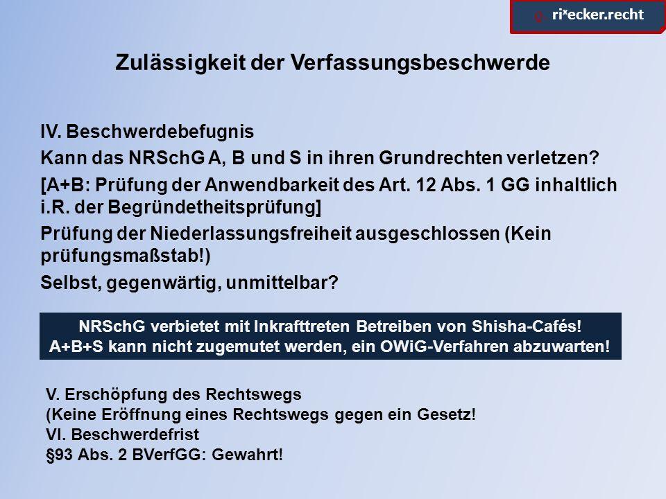 ϱ. ri x ecker.recht Zulässigkeit der Verfassungsbeschwerde IV. Beschwerdebefugnis Kann das NRSchG A, B und S in ihren Grundrechten verletzen? [A+B: Pr