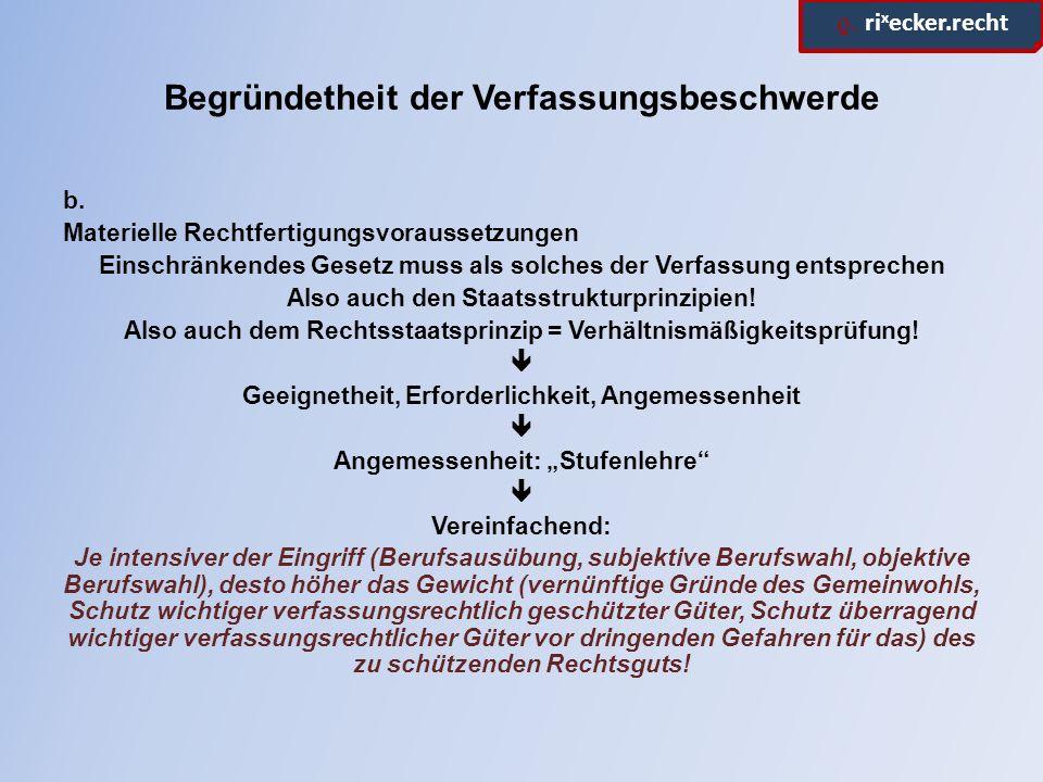 ϱ. ri x ecker.recht Begründetheit der Verfassungsbeschwerde b.