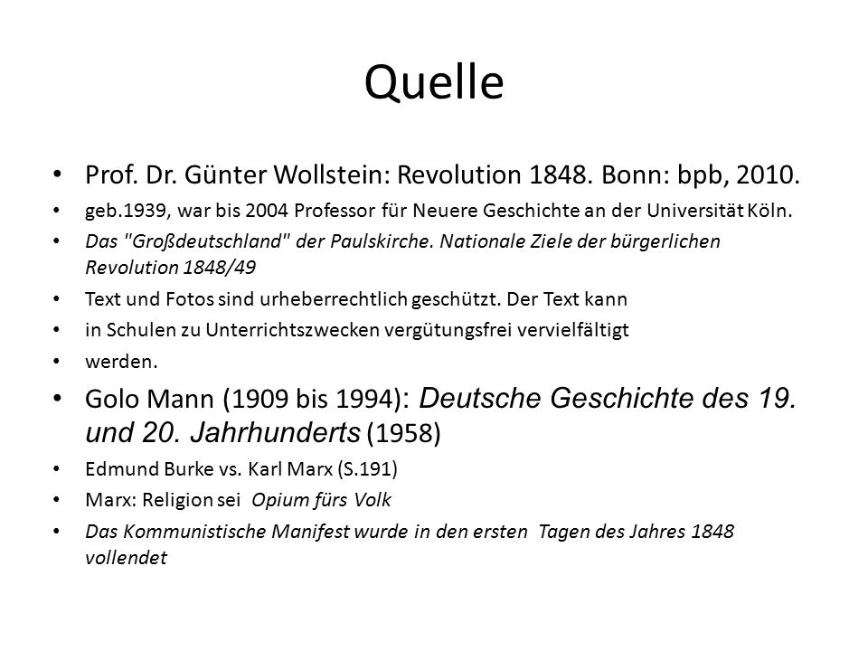 Quelle Prof. Dr. Günter Wollstein: Revolution 1848.